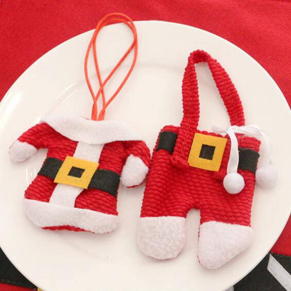 2 Pcs Set Santa Claus Christmas Table Decor Cutlery Knife Fork Holder Pockets
