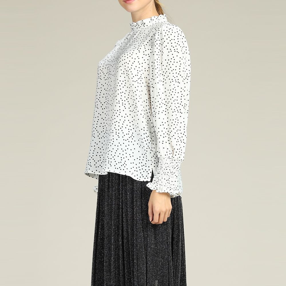 fd7b5f638429b SBETRO Women S Chiffon Boho Bohemian Polka Dots Print Long Sleeve Autumn  Blouse