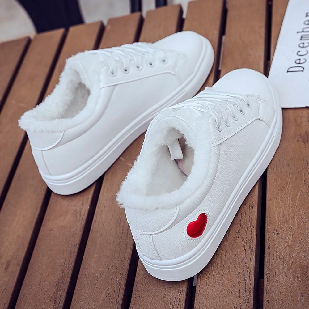 0dd37734f8b Women s Ladies Flat Shoes Frenulum Casual Shoes Cotton-padded Shoes White  Shoes
