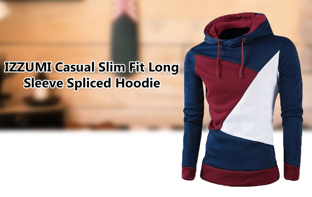 4faa7bf0 IZZUMI Stylish Color Block Spliced Slim Fit Long Sleeve Hoodies For Men