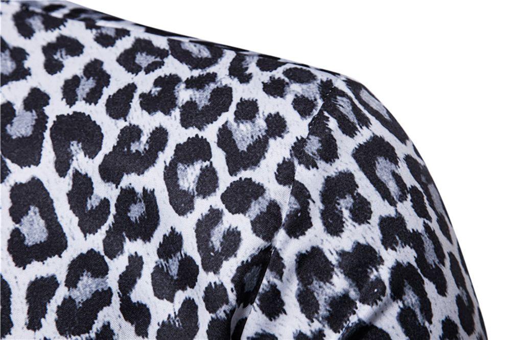 93465c7497c2 37% OFF] Men Casual Shirt Leopard Print Button Down Slim Fit Long ...