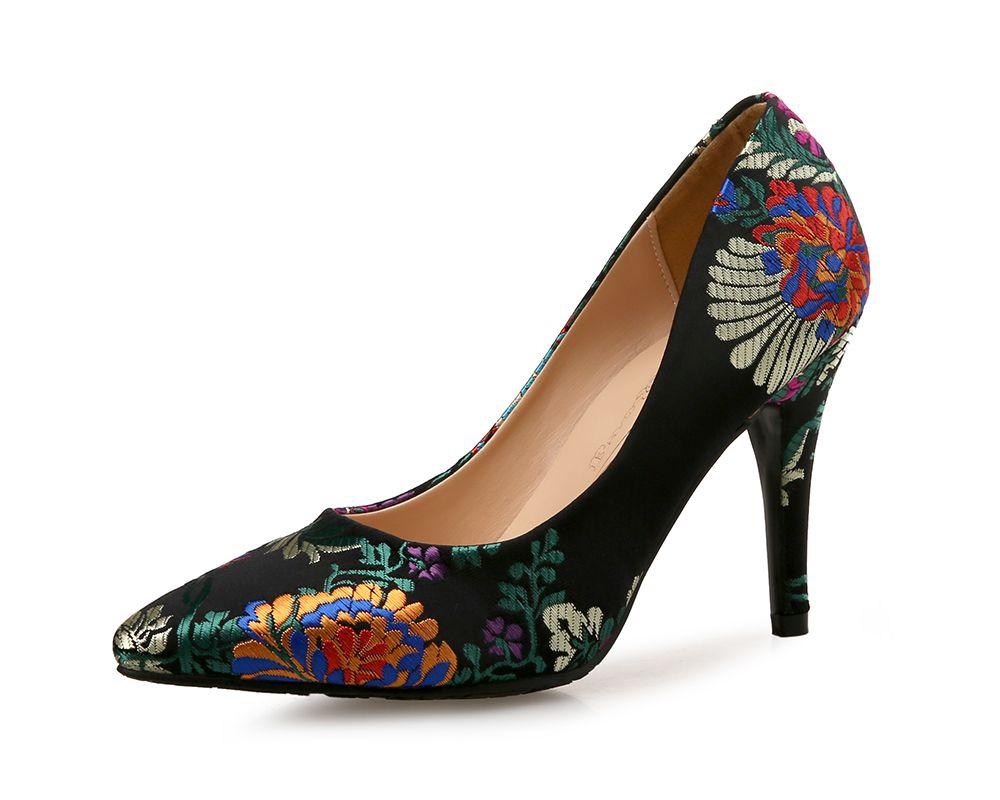 f8b8338142c Printed Pointed High Heels Satin Chinese Cheongsam Women S Shoes - Eu 41
