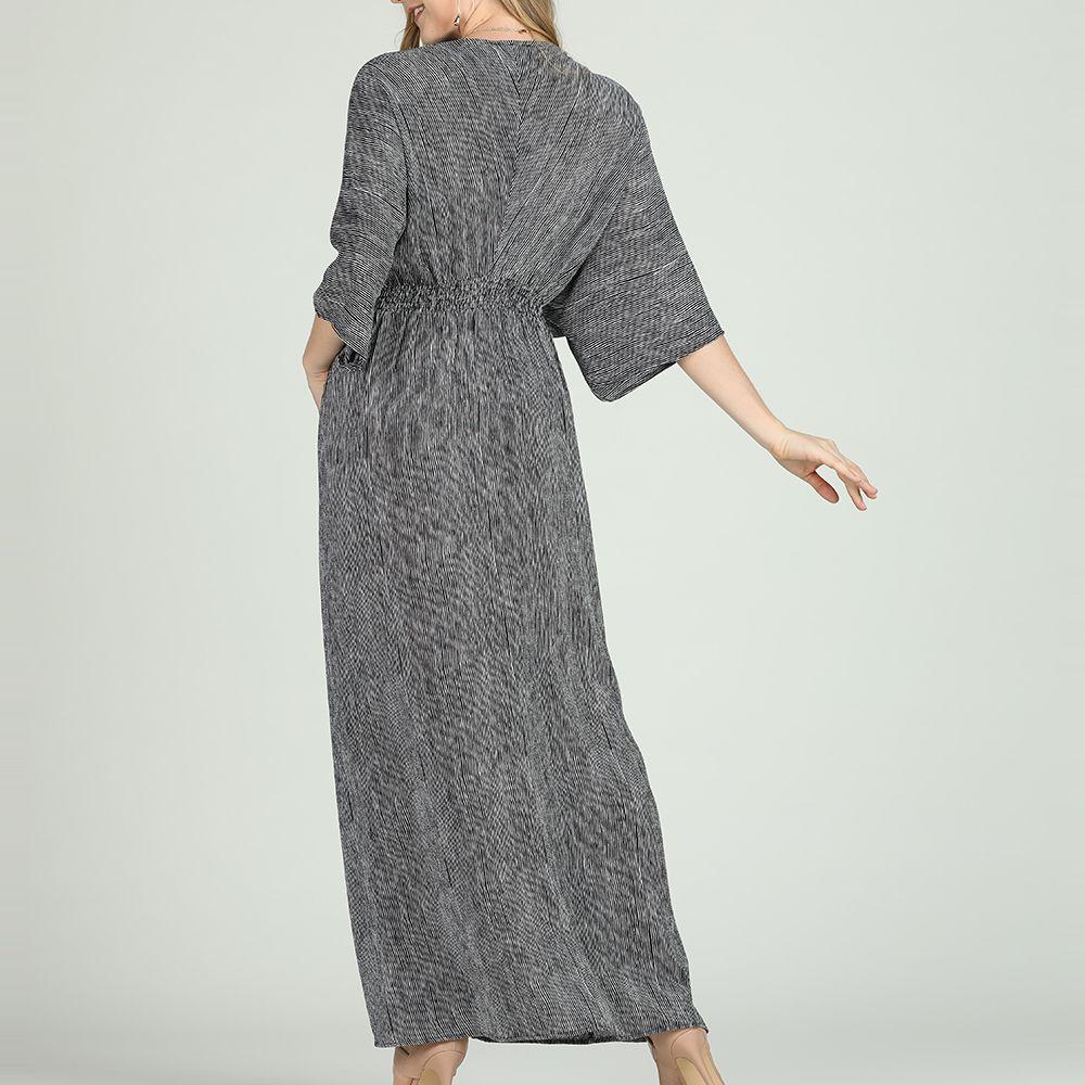 2018 Sbetro Black Maxi Dress Striped V Neck Elbow Length Kimono