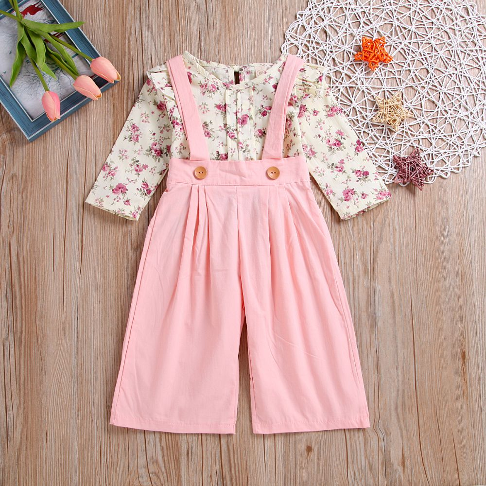 d421843c73b09 Children'S Wear High Quality Girl'S Cherry Blossom Shirt + Suspenders A  Trousers