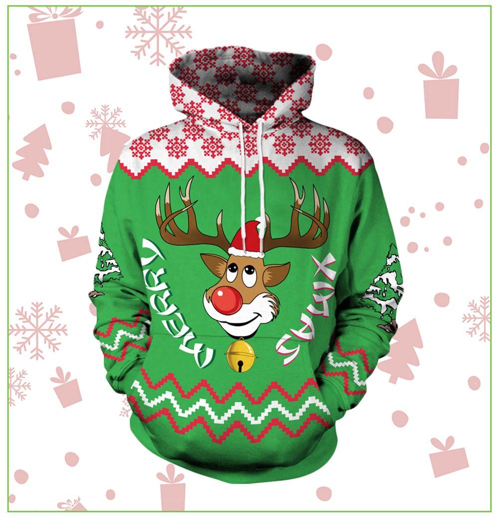 7c315a354da4 2019 Men s Casual 3d Print Hoodie Santa Elk Christmas Hoodie ...