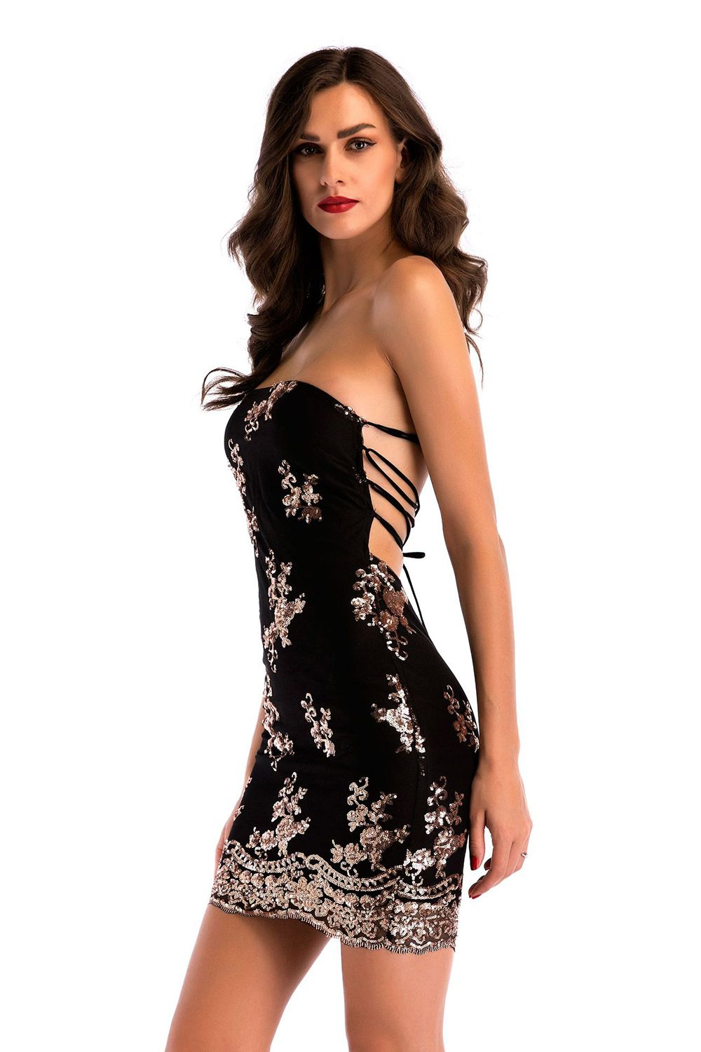 bcb65b95bd7 2019 Open Back Straps Hip Skirt Sexy Nightclub Tube Top Dress ...