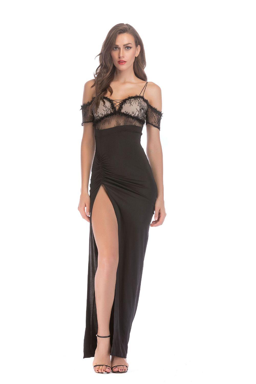 b02c3970640 Elegant Sexy Strapless Straps with Split Lace Trim Nightclub Dress