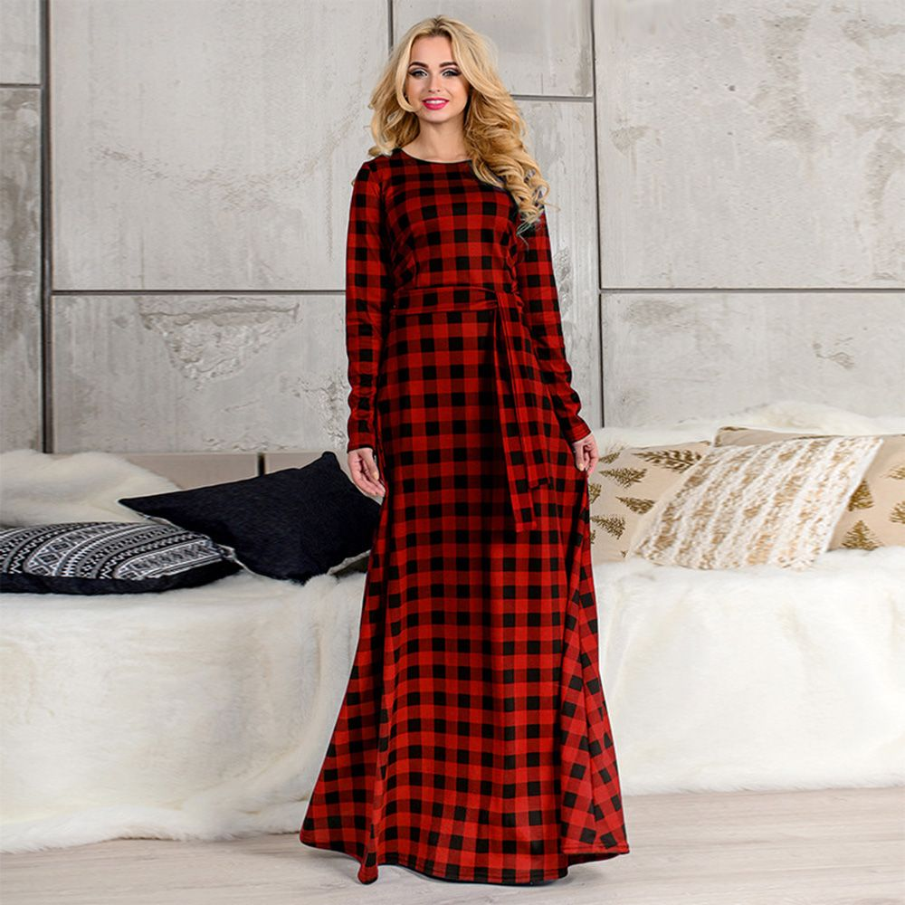 c43b60ba34 6XL Elegant Maxi Plaid Women Dress Big Size 2018 Spring Summer Plus Size  Long