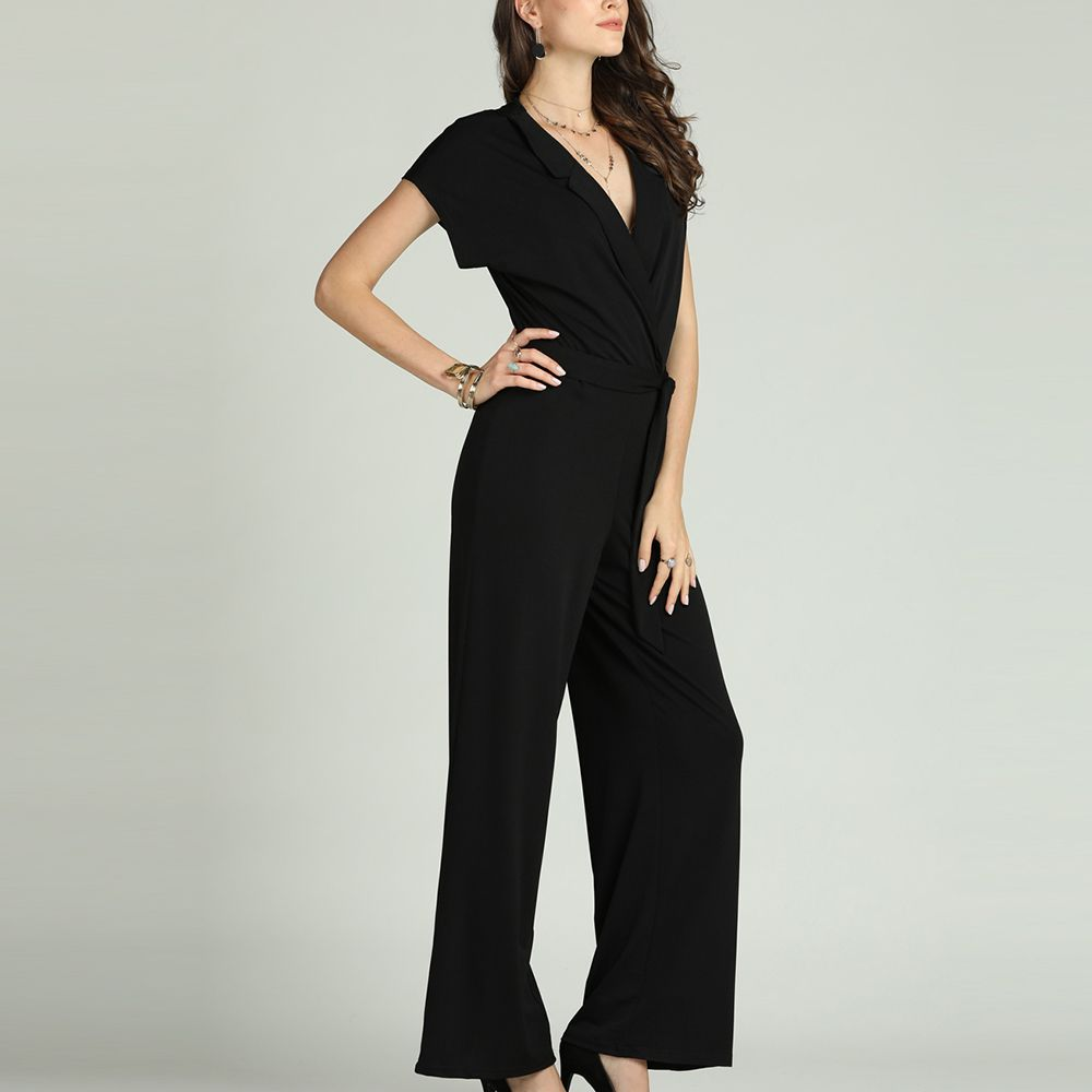 fe7d6cf5346 SBETRO Solid Office Jumpsuit with Tie Turn Down Collar Deep V Neck Short  Sleeve
