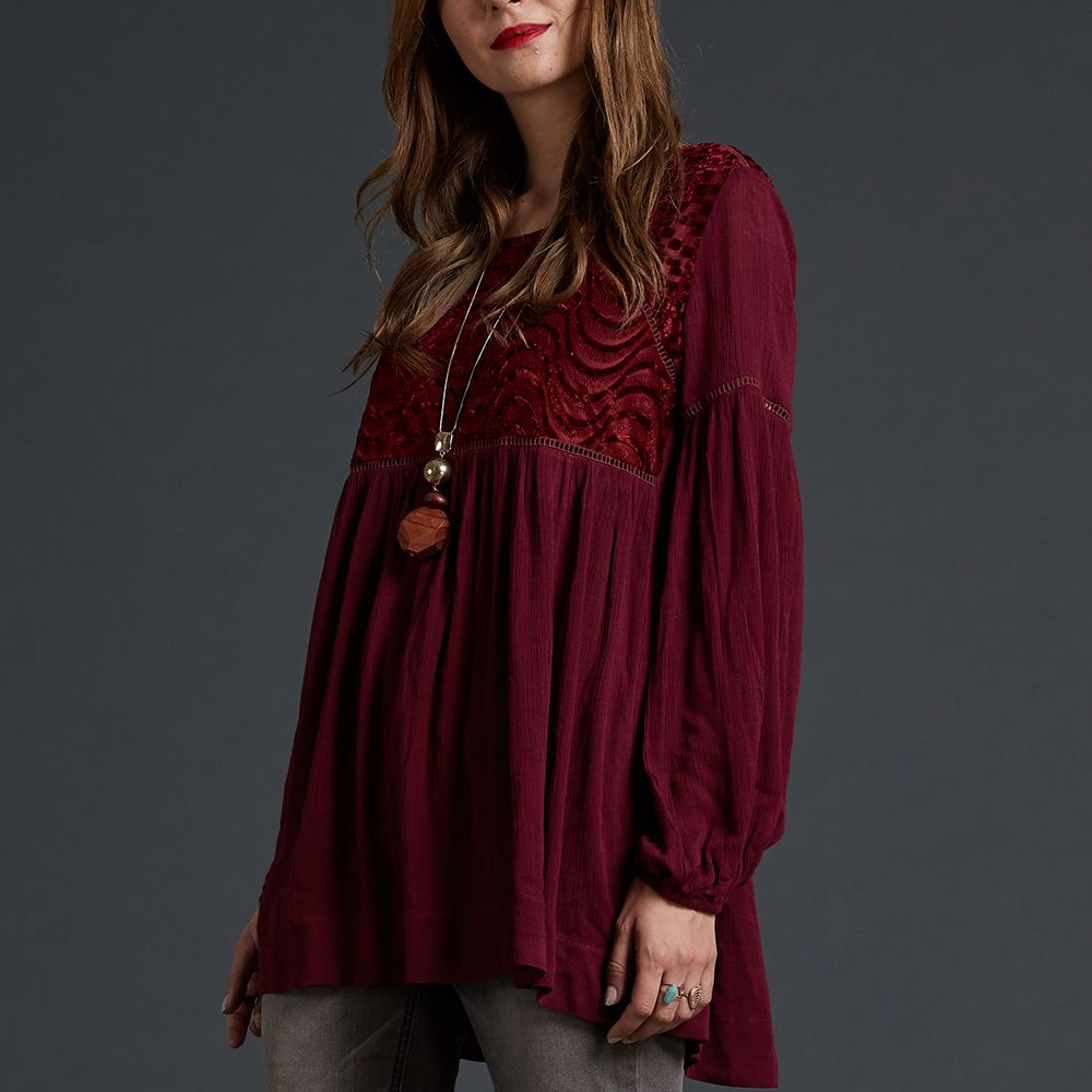dc79277ff073b 35% OFF ] 2018 Sbetro Lantern Sleeve Blouse Burgundy Burnout Empire ...