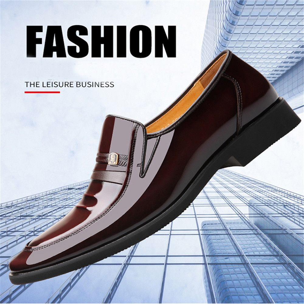 Business Dress Shoes Men Pointed Young Single Patent Leather