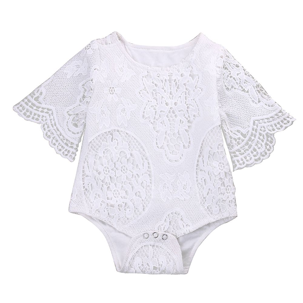 b795097ae7a4 Lovely Gifts Baby Girls White Ruffles Sleeve Romper Infant Lace Jumpsuit  Clothes - 60