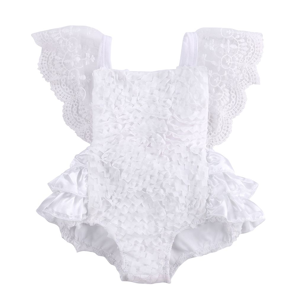 e1ae5bdfcaed Infant Baby Girl Clothes Lace Tutu Romper Sleeveless White Summer Outfits -  100