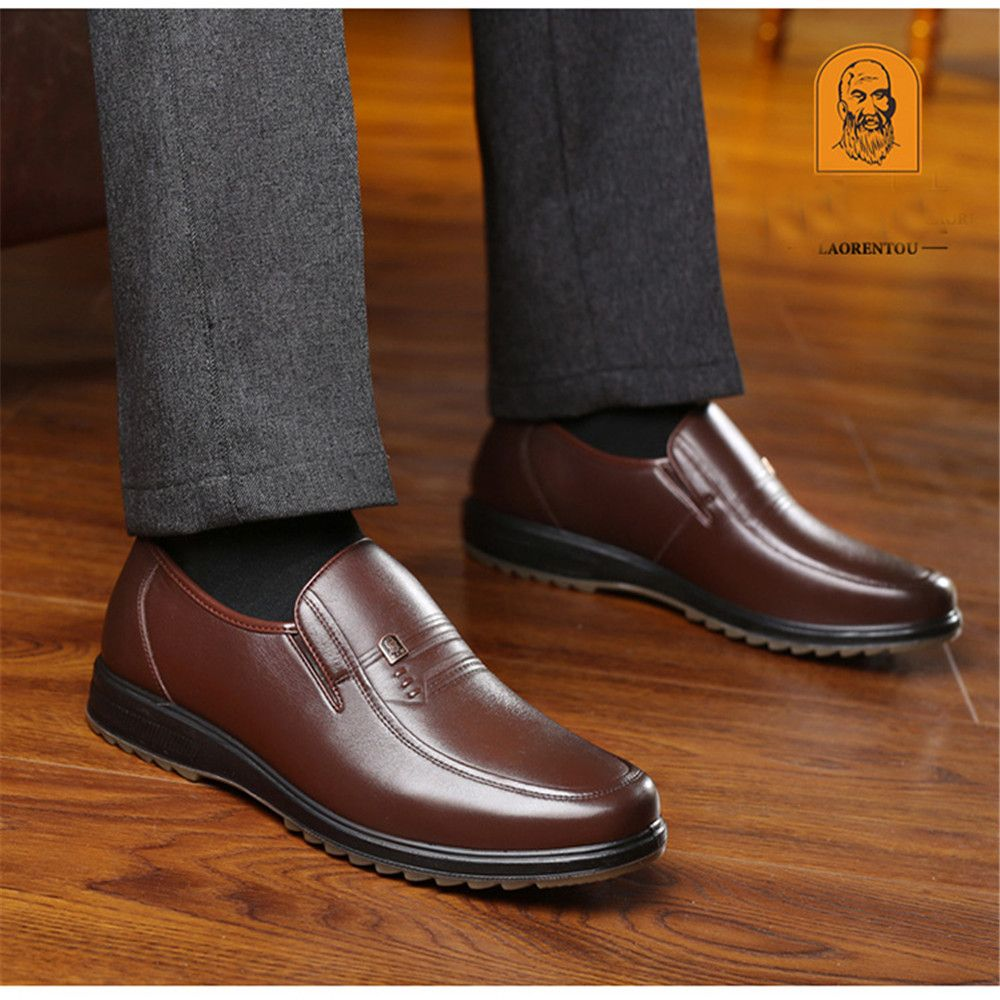 Formal Shoes Fashion Style Mens Shoes 2018 Autumn And Winter Mens Plus Velvet Warm Business England Dress Shoes Set Feet Middle-aged Father Shoes