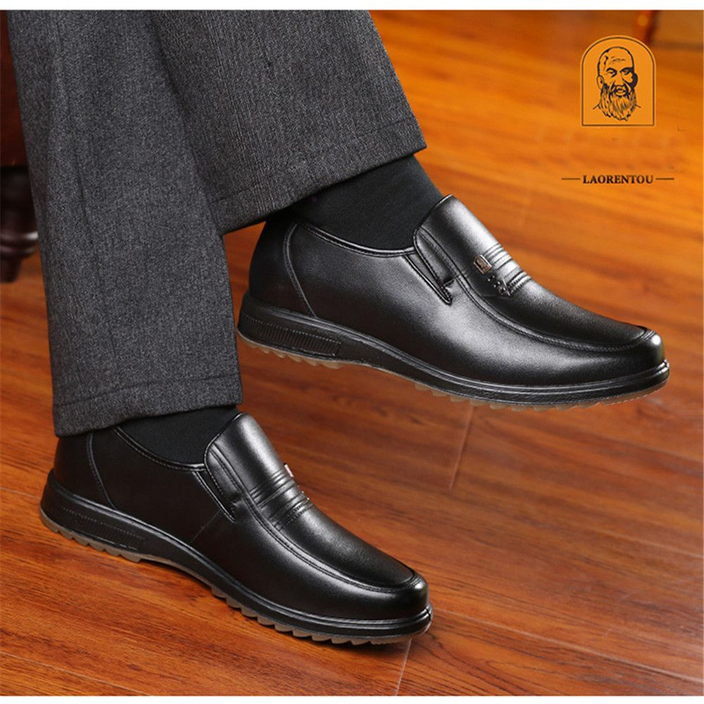 Formal Shoes Fashion Style Mens Shoes 2018 Autumn And Winter Mens Plus Velvet Warm Business England Dress Shoes Set Feet Middle-aged Father Shoes Shoes