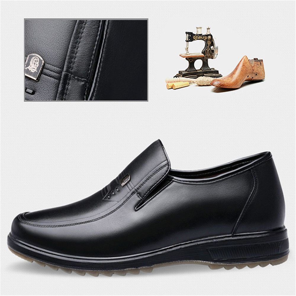 Shoes Fashion Style Mens Shoes 2018 Autumn And Winter Mens Plus Velvet Warm Business England Dress Shoes Set Feet Middle-aged Father Shoes Men's Shoes