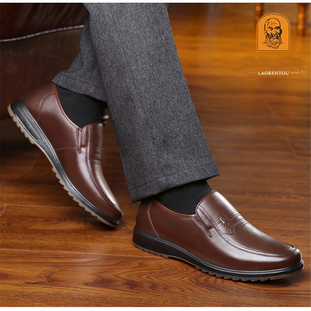 Men's Shoes Fashion Style Mens Shoes 2018 Autumn And Winter Mens Plus Velvet Warm Business England Dress Shoes Set Feet Middle-aged Father Shoes Formal Shoes
