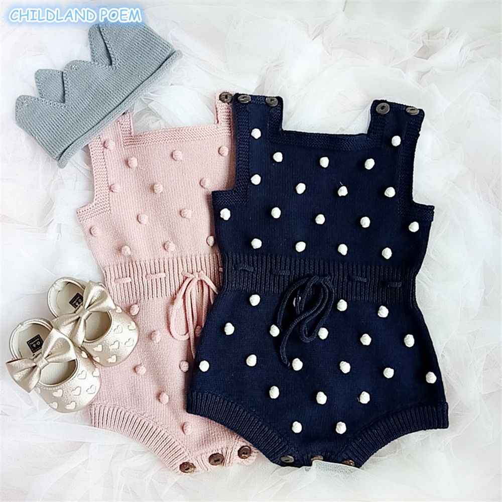 25de89bc620 2019 Baby Girl Knitted Clothes Autumn Knit Baby Rompers Girl Pompom ...