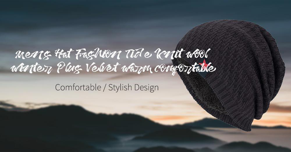 890dcc0406b Tide Knit Wool Hat Winter Plus Velvet Warm Red Five-star Head Men s Outdoor  Hat