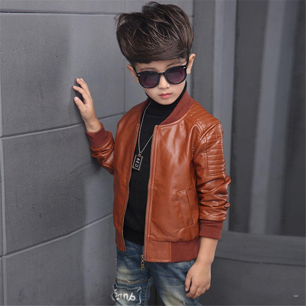 d1e4dc6640ef 2019 Boys Coats Autumn Winter Pu Leather Jacket Children s Plus ...
