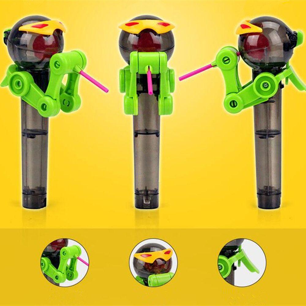 Hot Robot Lollipop Holder Toy Decompression Anti Pressure Relief Press Kid.