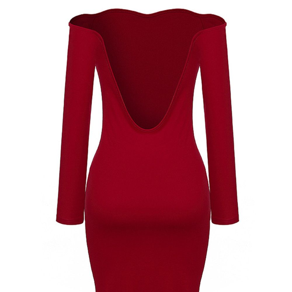 51a03a2057 Boat Neck Off Shoulder Backless Cut Out Sexy Long Sleeve Bodycon Skinny  Dress