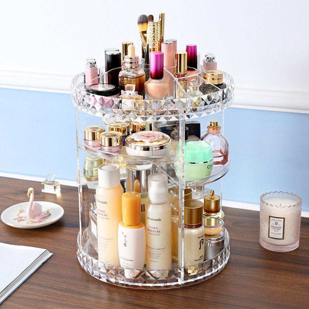 Rotating 360 Degree Crystal Jewelry Cosmetic Perfumesstorage Display Stand