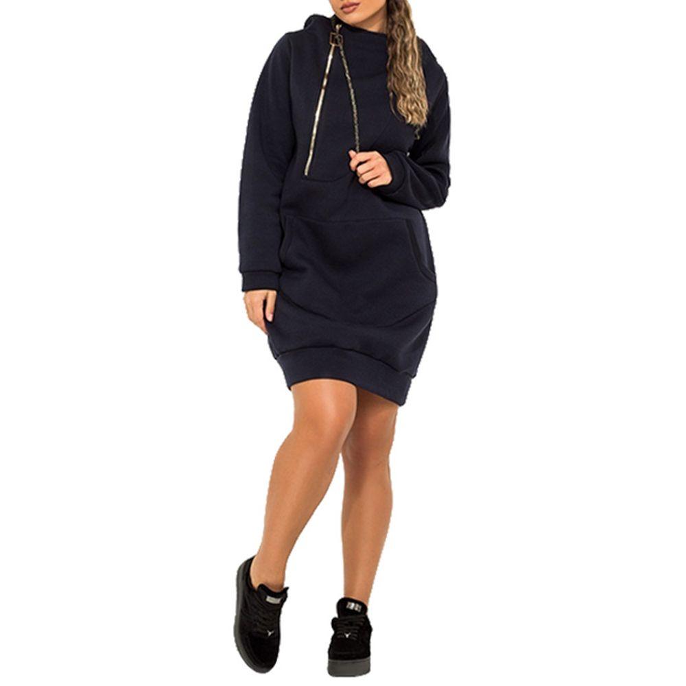8071b4d0c846d75 Тёмно-синий 1xl Платье Zipper 2018 нового способа сплошного цвета ...