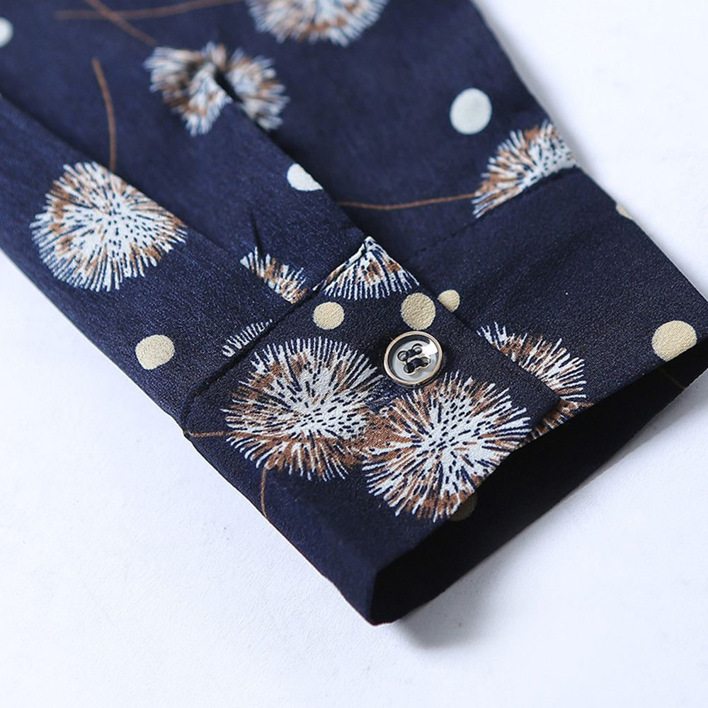 7c35931f0a8 Women S Shirt Collar Dandelion Print Bow Plus Size Puff Sleeve Chiffon Shirt