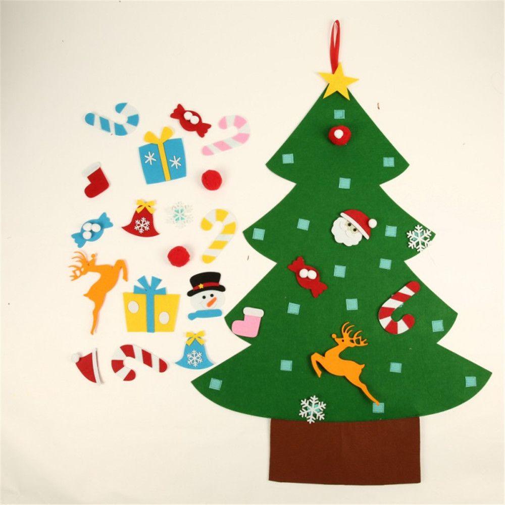 2018 Kids Diy Felt Christmas Tree With Ornaments Children Christmas ...