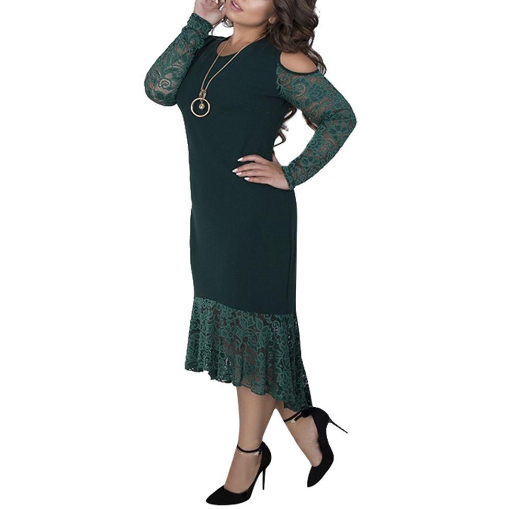 5abc2cc253194 بالاضافة الى حجم النساء فساتين سبنج كم طويل ماكسي فستان طويل حجم كبير الحزب