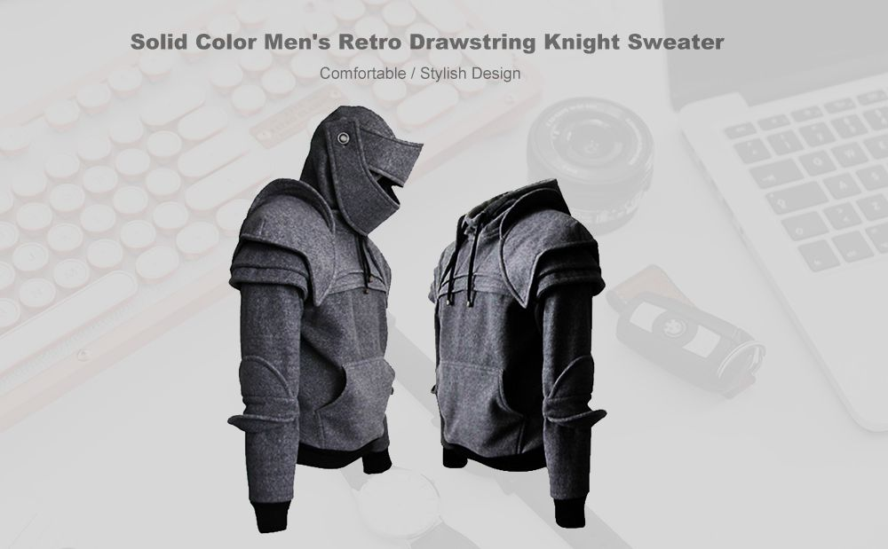 f668a4e194f 41% OFF   2019 Solid Color Men s Retro Drawstring Knight Sweater ...