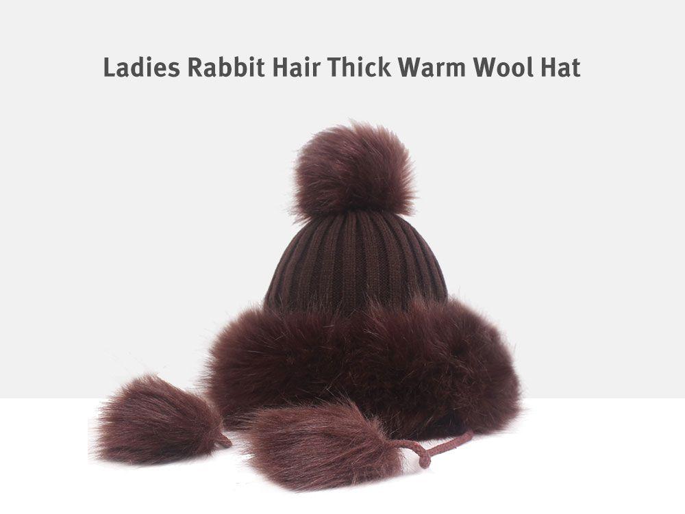94380f9ca 50% OFF] Ladies Rabbit Hair Ball Thick Warm Wool Cap   Rosegal