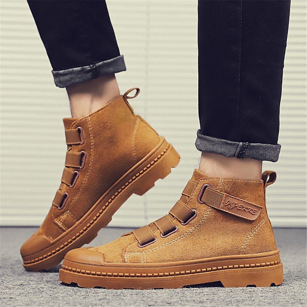 3b633279365 Brown Boots Men Winter Shoes Work Boots Fashion Casual Warm Shoes Men M8811