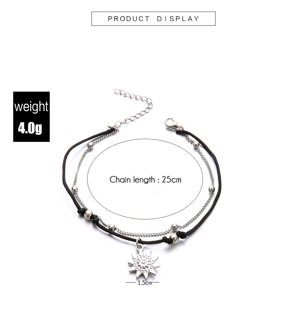 7ef67fbce68 50% OFF  Double Layer Anklets Star Elephant Foot Bracelet For Women ...