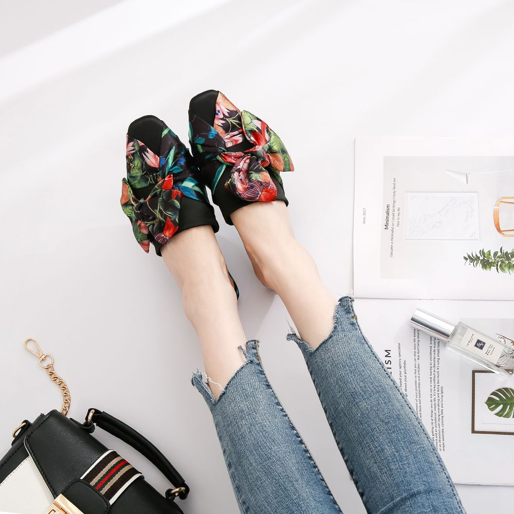 06d9a6641b286 49% OFF] Satin Printed Bow Baotou Flat With Female Slippers | Rosegal