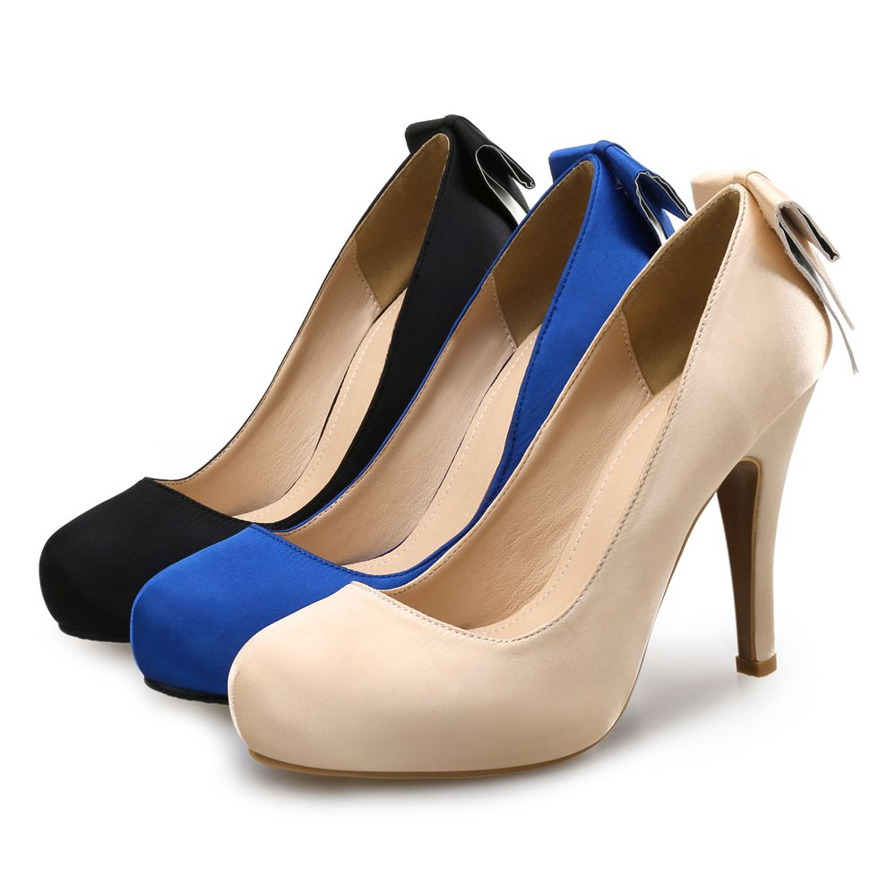 6f361ba5fd07 Blue Bow Dress Single Shoes Round Head High Heel Shallow Mouth Shoes