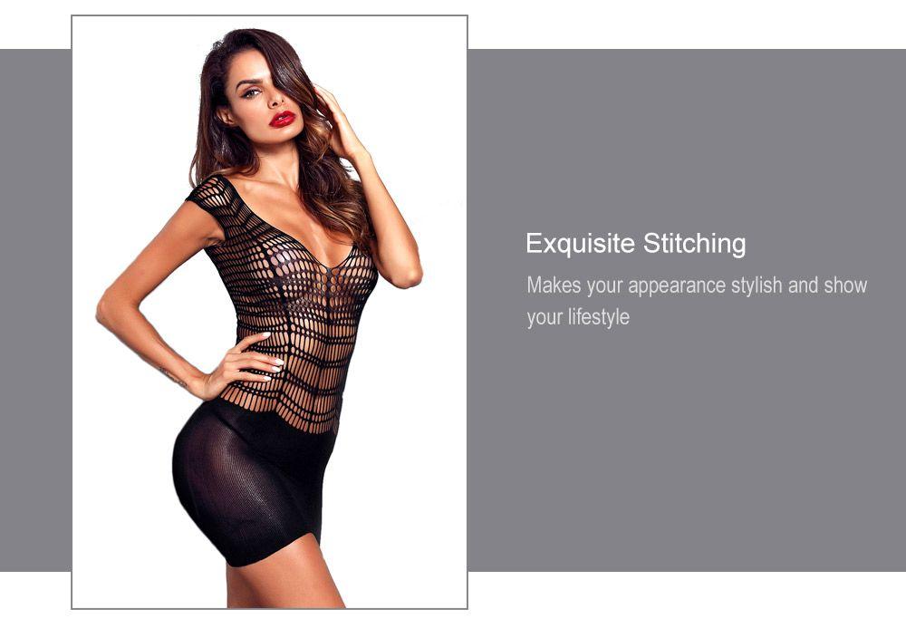 1686fe5e871e5 40% OFF] Women Sexy Black Pothole Chemise Lingerie Mini Dress | Rosegal