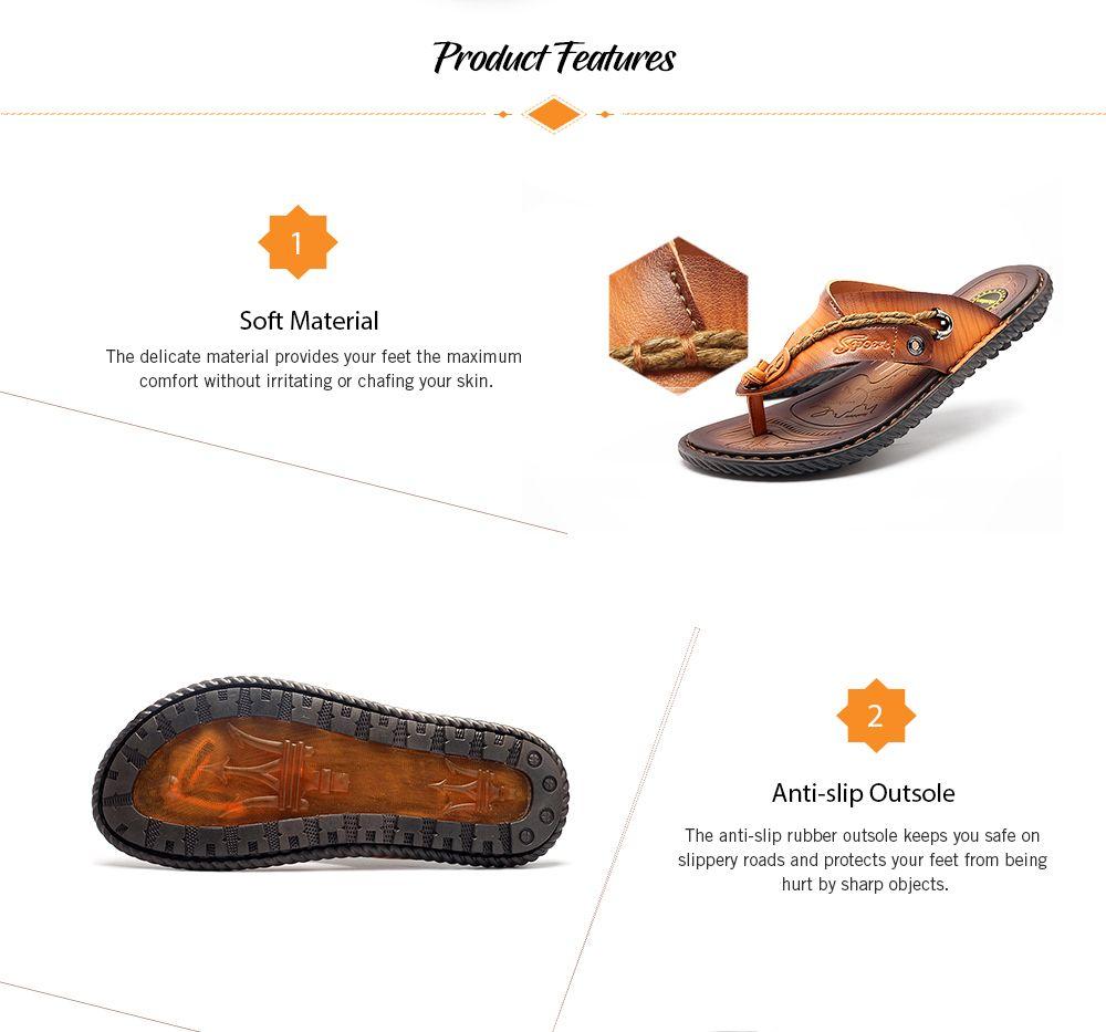 c617ece701b8 25% OFF  Summer Men Leather Sandals Flip Flops Soft Sole Slippers ...