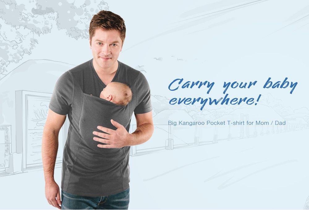 8b3c2cae 28% OFF] Big Kangaroo Pocket T-shirt For Mom / Dad Short Sleeves ...