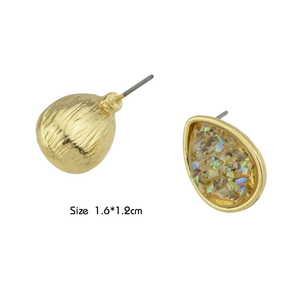 91e675bebf Colorful Stone with Water Drop Shape Stud Earrings