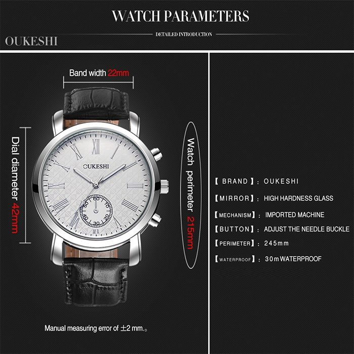 OUKESHI Faux Leather Band Roman Numeral Watch