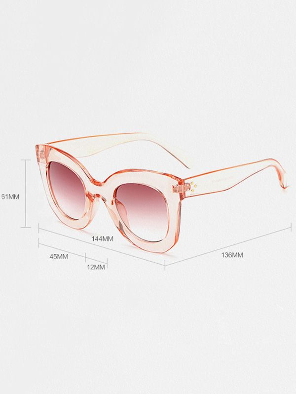 Outdoor Transparent Frame Gradient Lens Butterfly Sunglasses